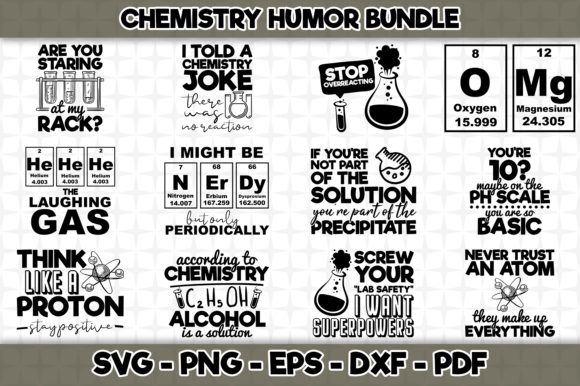 Print on Demand: Chemistry Humor Bundle Gráfico Crafts Por SVGExpress