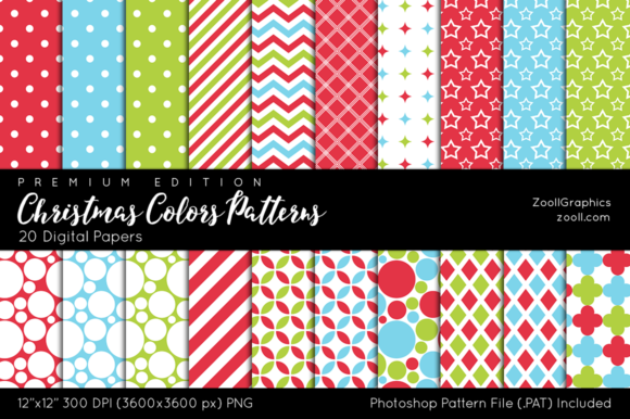Christmas Colors Digital Papers Graphic Patterns By ZoollGraphics