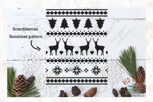 Christmas Nordic Seamless Graphic Crafts By redearth and gumtrees