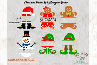 Christmas Friends Split Monogram  Graphic Crafts By redearth and gumtrees