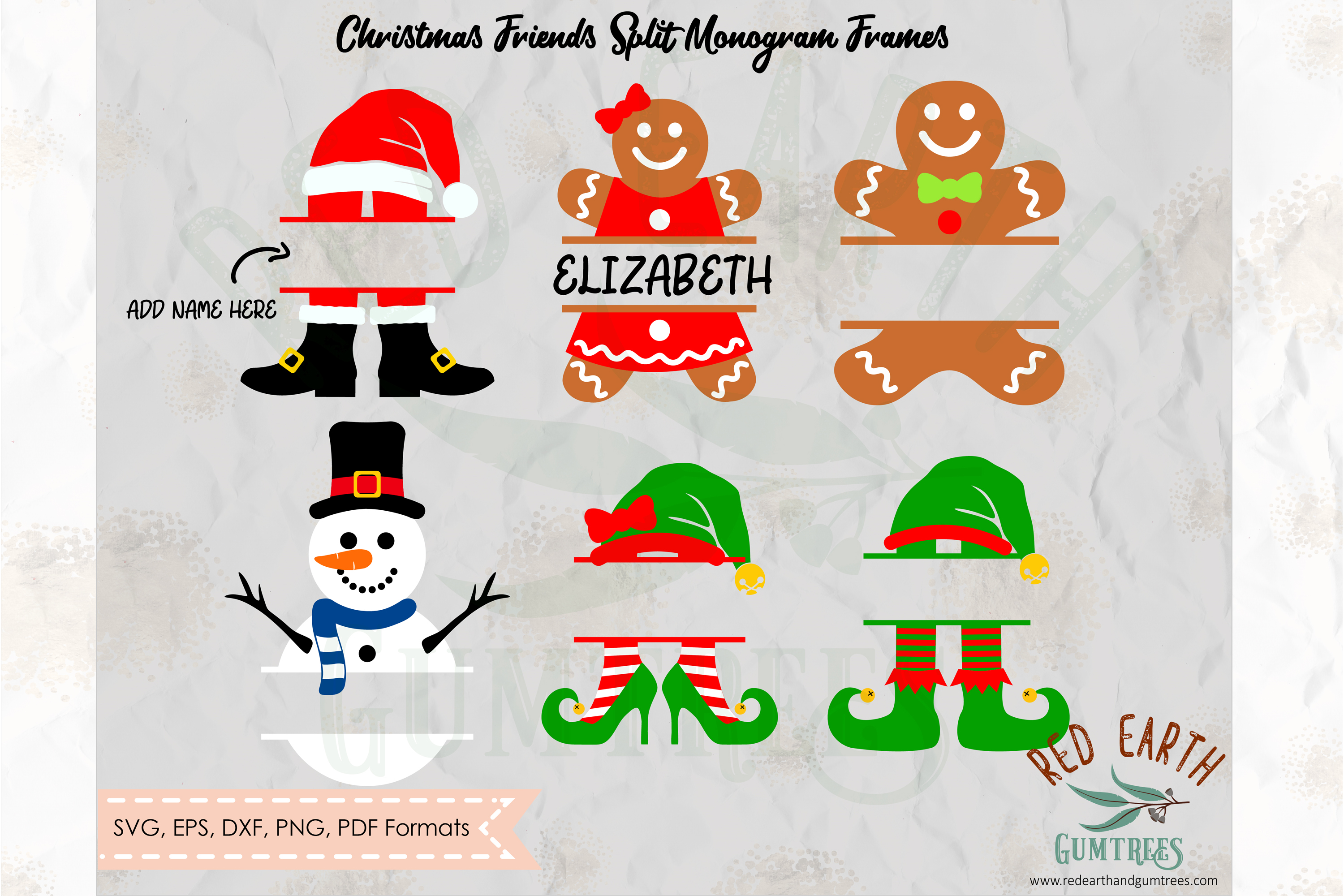 Download Free Christmas Friends Split Monogram Graphic By Redearth And for Cricut Explore, Silhouette and other cutting machines.