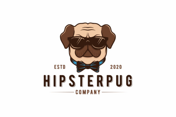 Cute Hipster Pug Dog Logo Template Graphic Logos By vectorwithin