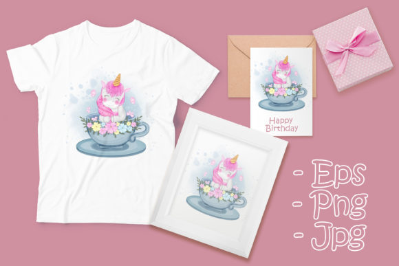 Print on Demand: Cute Unicorn in a Cup Tea Illustration Graphic Illustrations By OrchidArt