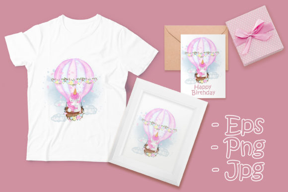 Print on Demand: Cute Unicorn on an Air Balloon Graphic Illustrations By OrchidArt