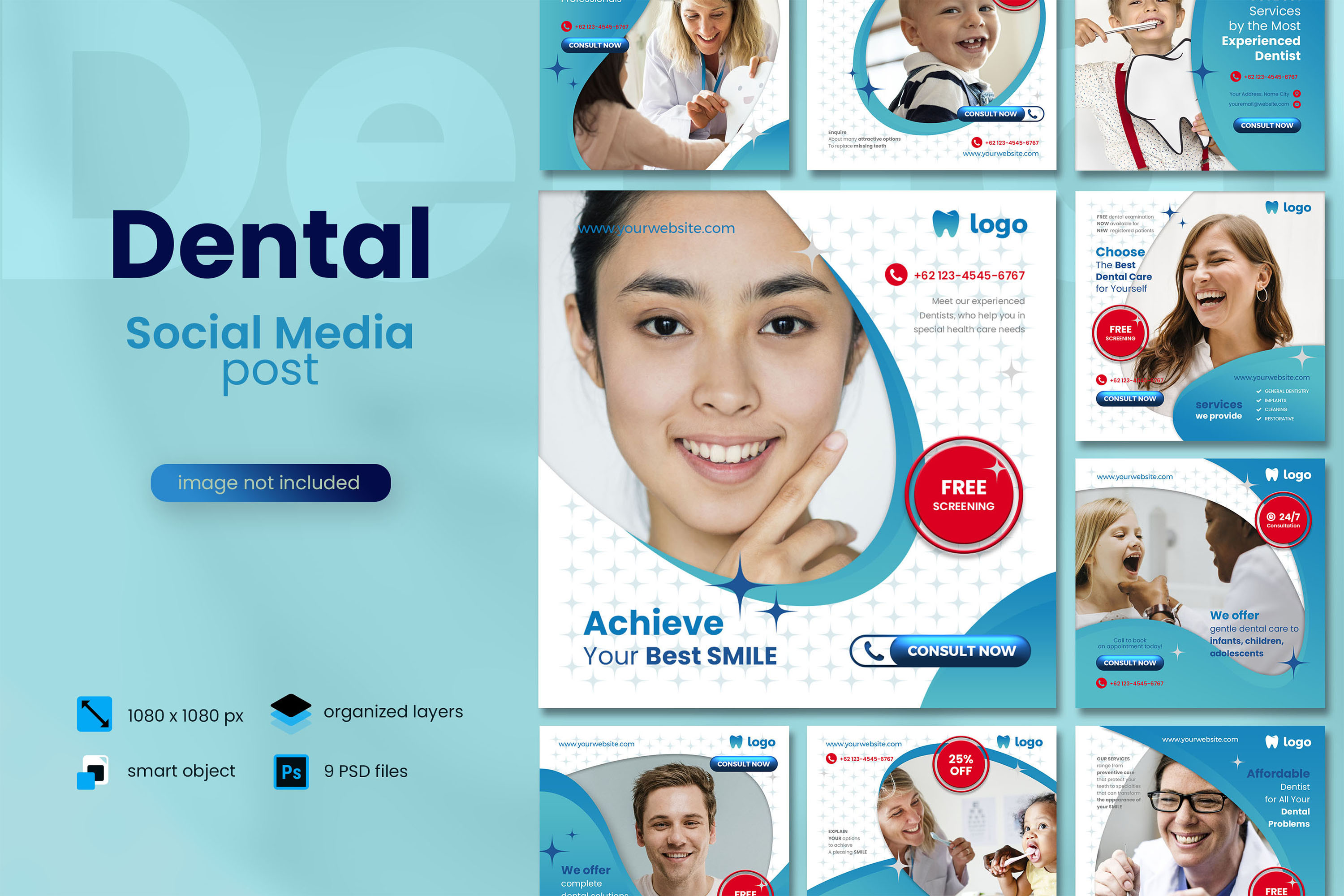 Download Free Dental Social Media Post Template Graphic By Diqtam Creative for Cricut Explore, Silhouette and other cutting machines.