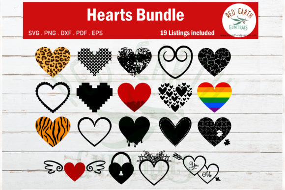 Download Free Different Patterned Hearts Bundle Graphic By Redearth And for Cricut Explore, Silhouette and other cutting machines.