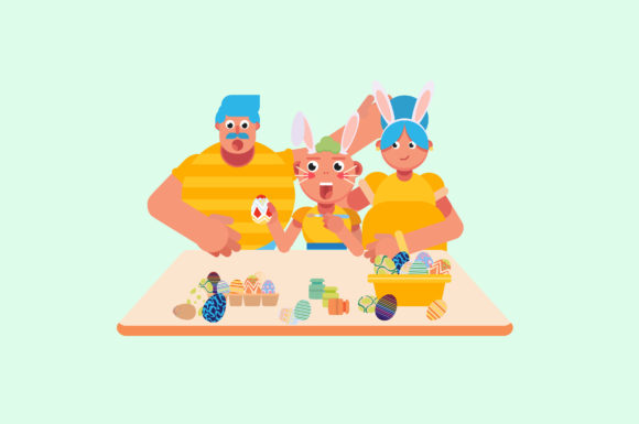 Download Free Easter Character Illustration Graphic By Altumfatih Creative for Cricut Explore, Silhouette and other cutting machines.