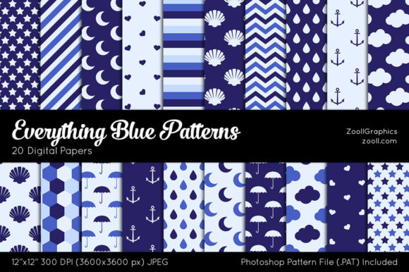 Everything Blue Digital Papers Gráfico Moldes Por ZoollGraphics