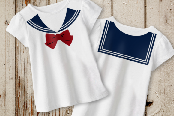 Faux Sailor Yoke Collar with Bow Graphic Crafts By DesignedByGeeks
