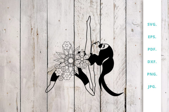 Print on Demand: Floral Cute Yoga Girl Cut File Graphic Crafts By Sintegra