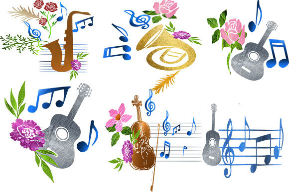 Print on Demand: Floral Music Instrument and Notes Graphic Illustrations By arts4busykids