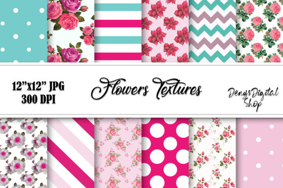 Flowers Papers, Flowers Patterned Graphic Crafts By denysdigitalshop