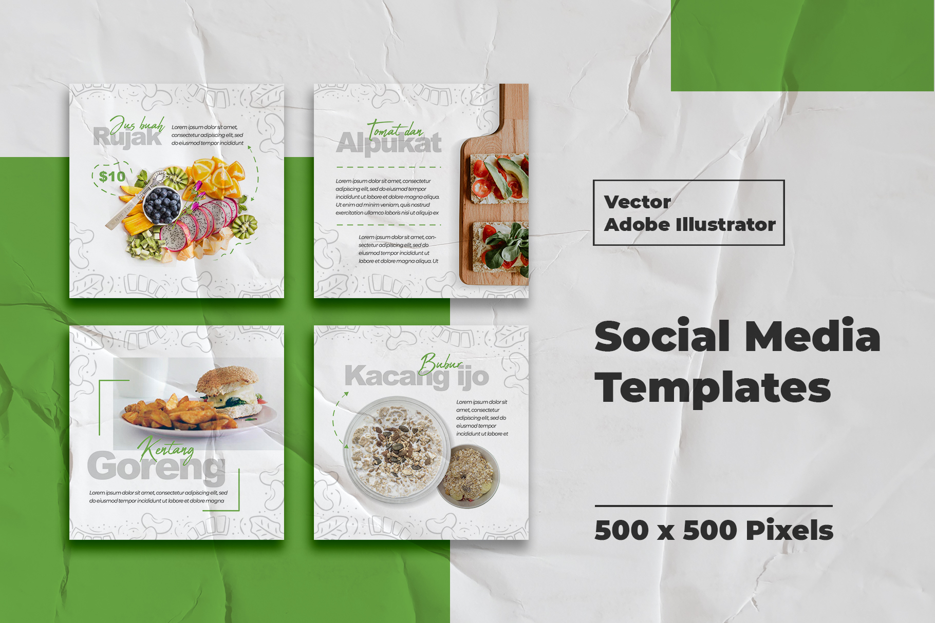 Download Free Food Instagram Feed Vector Graphic By Qohhaarqhaz Creative Fabrica for Cricut Explore, Silhouette and other cutting machines.