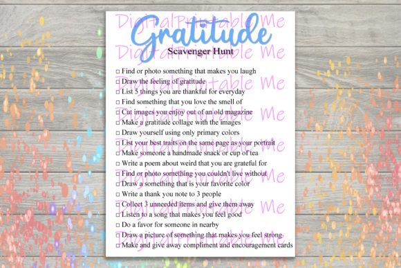 Download Free Gratitude Scavenger Hunt Printable Kids Graphic By for Cricut Explore, Silhouette and other cutting machines.