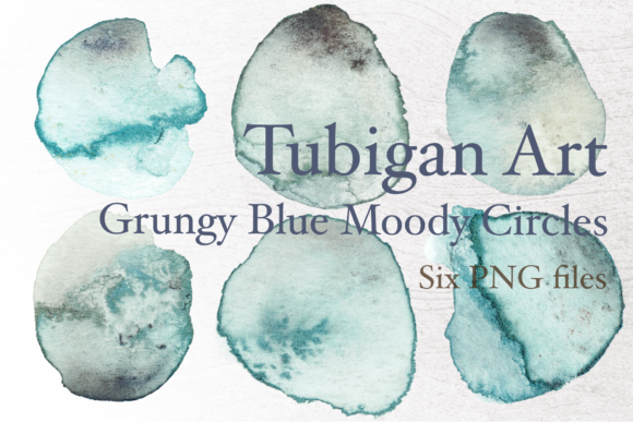Print on Demand: Grungy Blue Watercolor Circles for Logo Graphic Textures By Tubiganart