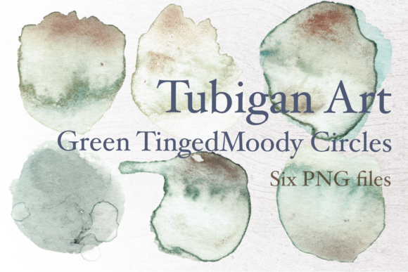 Print on Demand: Grungy Green Tinged Watercolor Circles Graphic Textures By Tubiganart