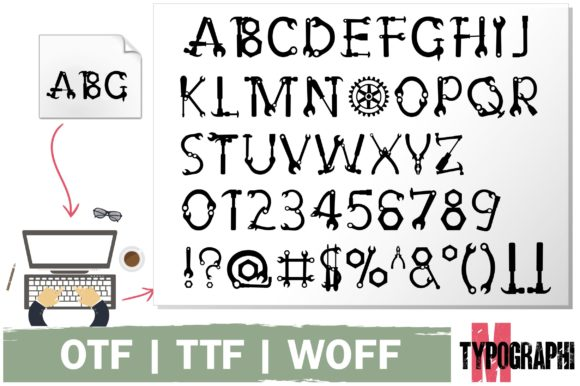 Print on Demand: Hand Tool Decorative Font By Typography Morozyuk - Image 5