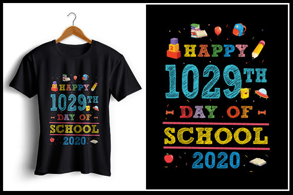 Print on Demand: Happy 1029th Day of School 2020 Graphic Crafts By Zaibbb