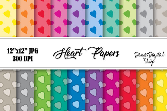 Heart Digital Papers,Scrapbook Heart Graphic Crafts By denysdigitalshop