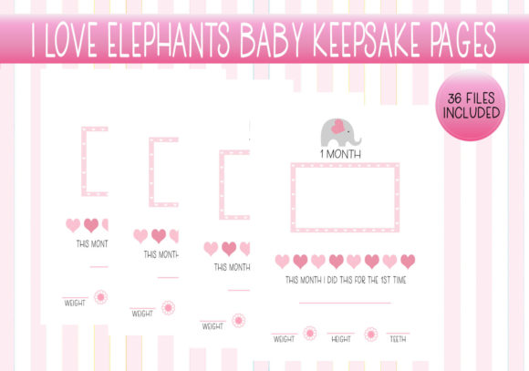 Print on Demand: I Love Elephants Baby Keepsake Pages Graphic Print Templates By capeairforce