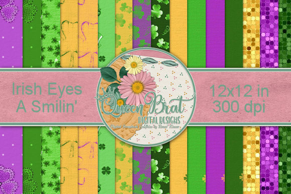 Print on Demand: Irish Eyes a Smilin' Backgrounds Graphic Backgrounds By QueenBrat Digital Designs