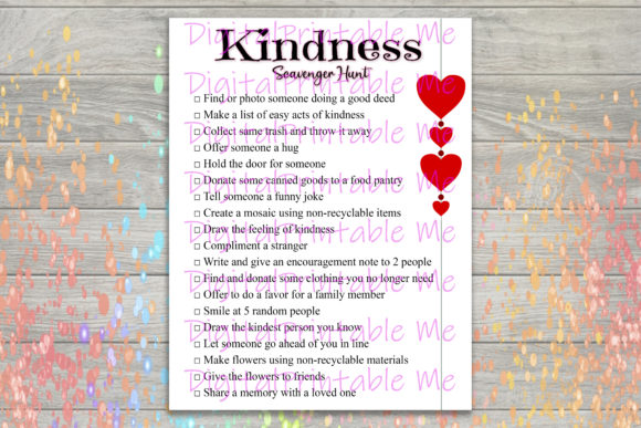 Download Free Kindness Scavenger Hunt Kids Game Graphic By Digitalprintableme for Cricut Explore, Silhouette and other cutting machines.