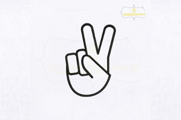 Letter V Hand Sign School & Education Embroidery Design By RoyalEmbroideries