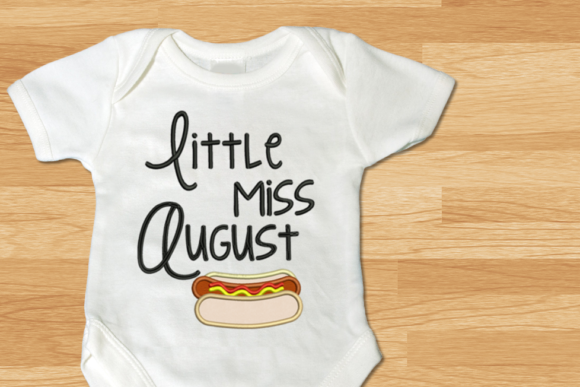 Little Miss August Hot Dog Applique Food & Dining Embroidery Design By DesignedByGeeks
