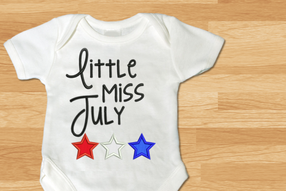 Little Miss July Stars Applique Independence Day Embroidery Design By DesignedByGeeks