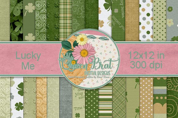 Print on Demand: Lucky Me Backgrounds Graphic Backgrounds By QueenBrat Digital Designs
