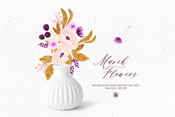 Print on Demand: March Flowers Graphic Illustrations By webvilla