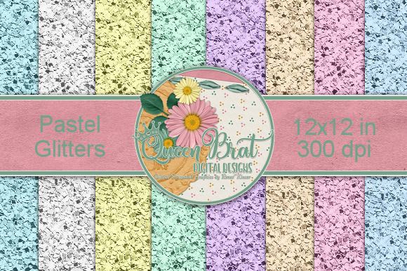 Print on Demand: Pastel Glitter Backgrounds Graphic Backgrounds By QueenBrat Digital Designs