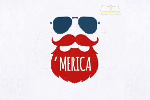 Patriotic Beard Man Face Independence Day Embroidery Design By royalembroideries