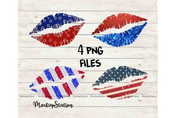 Print on Demand: Patriotic Lips Sublimation Clip Art Graphic Illustrations By Mockup Station