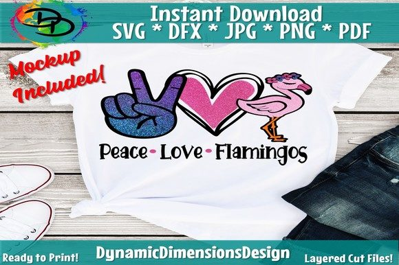 Peace Love Flamingo Graphic Crafts By dynamicdimensions