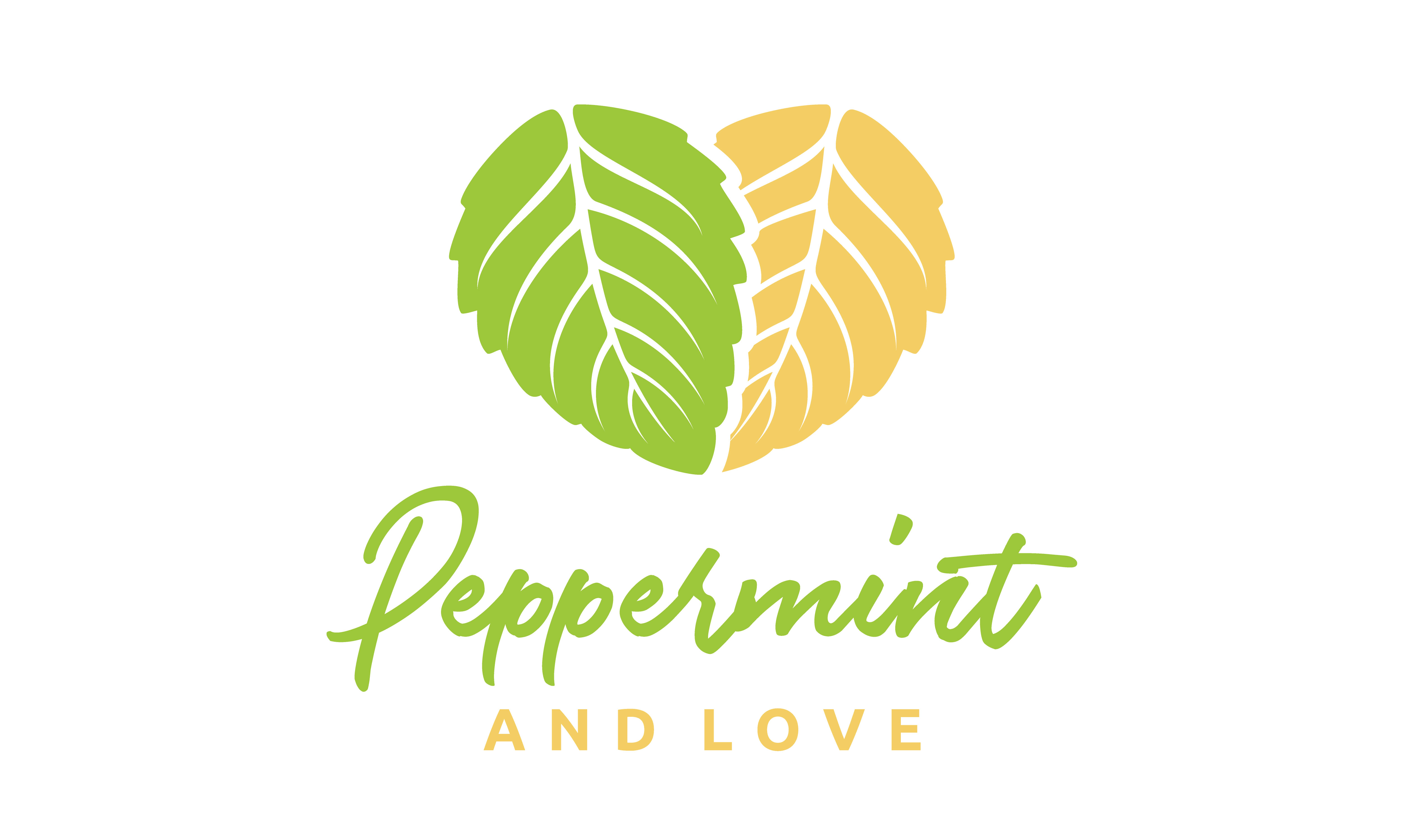 Download Free Peppermint Mint Leaves Heart Love Logo Graphic By Enola99d for Cricut Explore, Silhouette and other cutting machines.