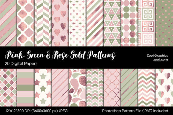 Pink, Green and Rose Gold Digital Papers Graphic Patterns By ZoollGraphics