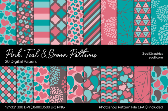 Pink, Teal and Brown Digital Papers Graphic Patterns By ZoollGraphics
