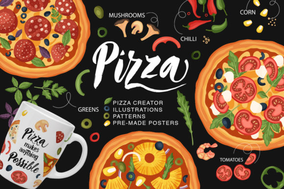 Print on Demand: Pizza Bundle Creator Graphic Illustrations By billcreativestore