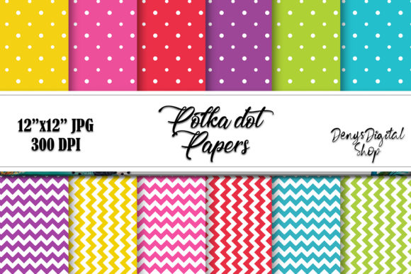Download Free Polka Dot Scrapbooking Papers Chevron Graphic By for Cricut Explore, Silhouette and other cutting machines.