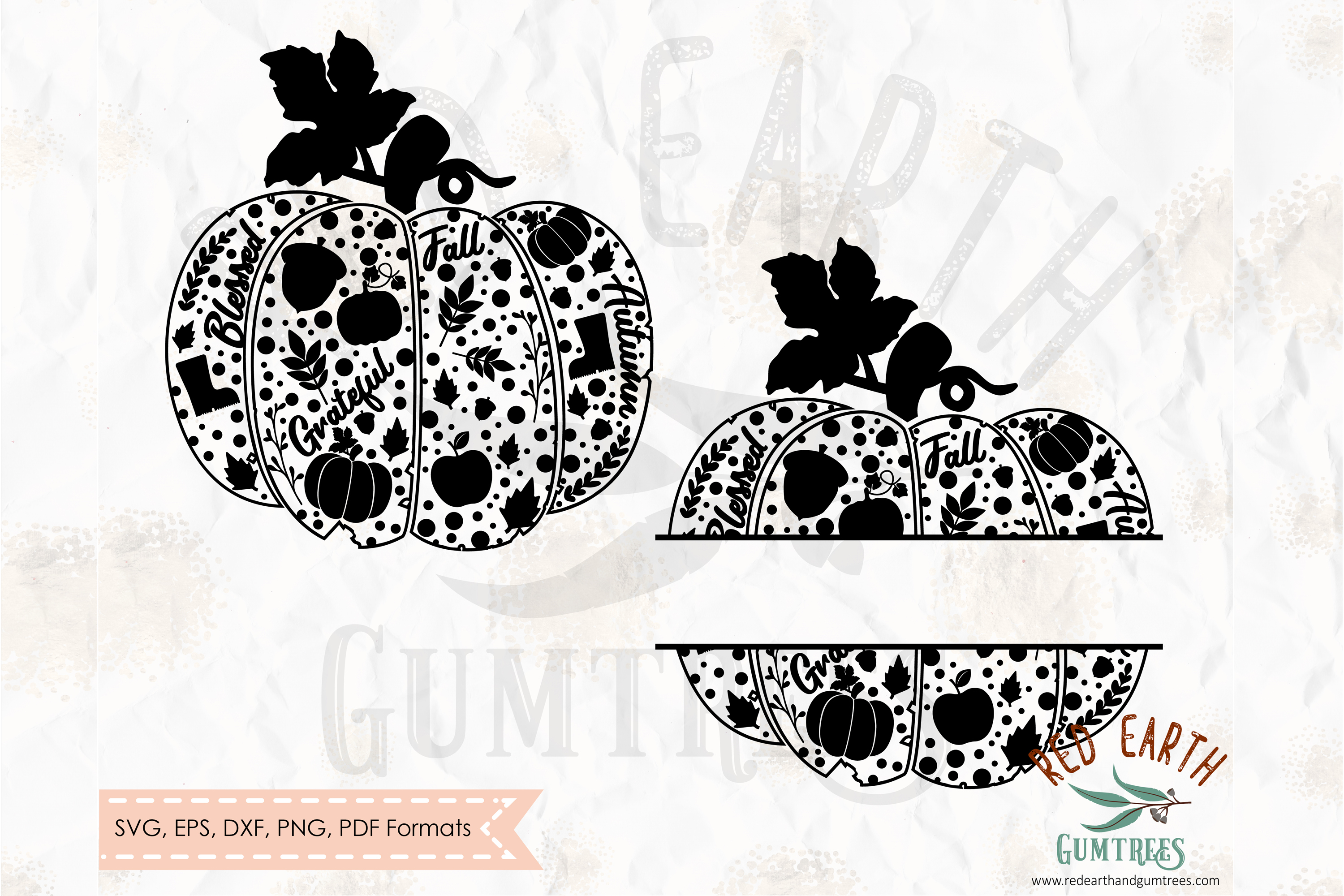 Pumpkin Decorated Split Monogram Svg Graphic By Redearth And Gumtrees Creative Fabrica