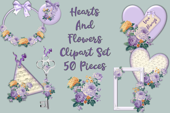 Print on Demand: Purple Flowers Clipart Bundle Graphic Crafts By The Paper Princess