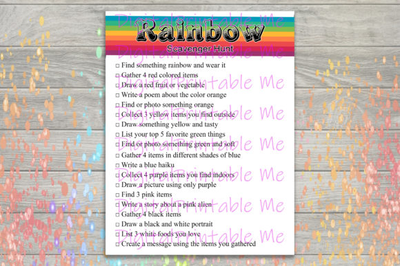 Download Free Rainbow Scavenger Hunt Kids Game Party Grafico Por for Cricut Explore, Silhouette and other cutting machines.