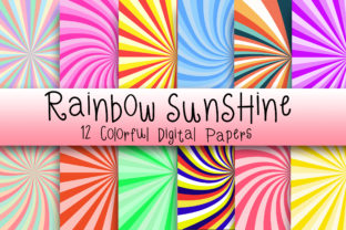 Rainbow Sunshine Digital Papers Graphic Backgrounds By PinkPearly