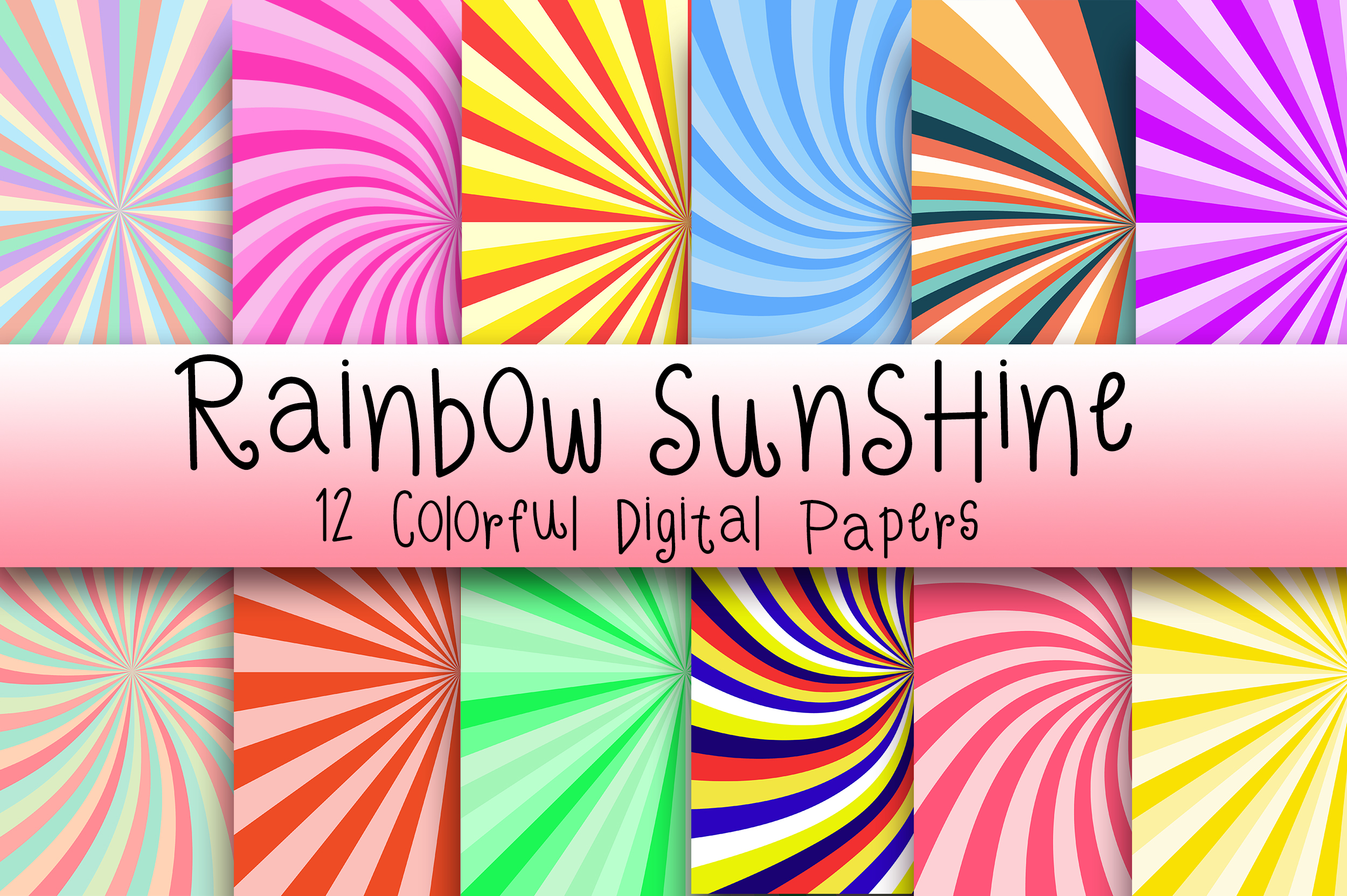 Download Free Rainbow Sunshine Digital Papers Graphic By Pinkpearly Creative for Cricut Explore, Silhouette and other cutting machines.
