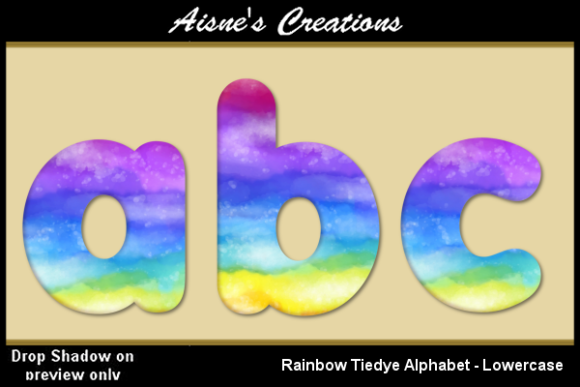 Print on Demand: Rainbow Tiedye Alphabet - Lowercase Graphic Objects By Aisne