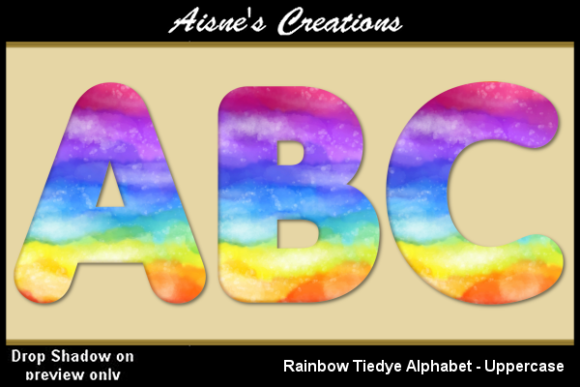 Print on Demand: Rainbow Tiedye Alphabet - Uppercase Graphic Objects By Aisne