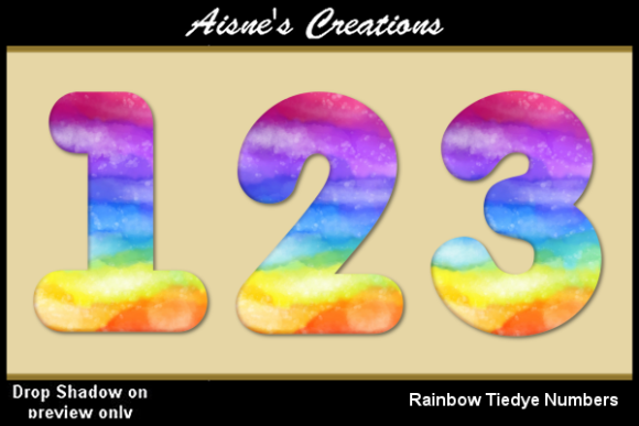 Print on Demand: Rainbow Tiedye Numbers Graphic Objects By Aisne