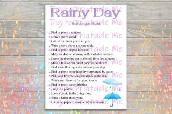 Download Free Rainy Day Scavenger Hunt Printable Kids Graphic By for Cricut Explore, Silhouette and other cutting machines.
