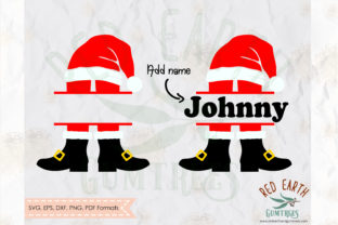 Santa Claus Shoes Split Monogram SVG Graphic Crafts By redearth and gumtrees